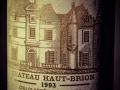 Chateaux Haut-Brion, 1993, Premier Grand Cru Classe, Bordeaux, Wine bottle photographed in studio with Fresnel Lighting. Pic: Brendan Lyon.